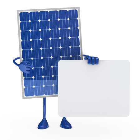 renewable energy: blue solar panel figure hold a billboard