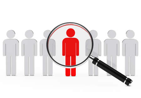 job search: magnifying lens over teamwork series with leader