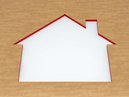 ecology house: red white house cutout on wood floor Stock Photo