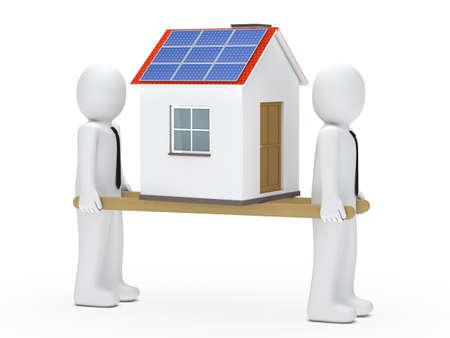render residence: men hold house with solar on ladder