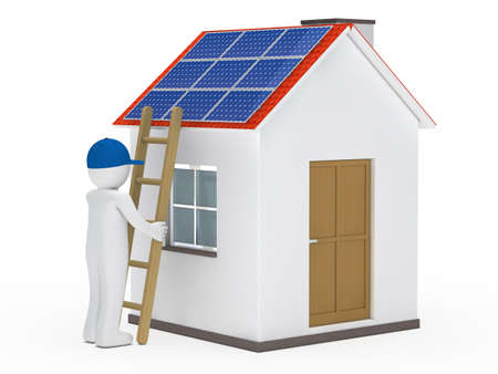 solar panel roof: man hold ladder on house with solar Stock Photo