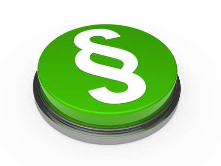 linguistics: green chrome button with white paragraph symbol
