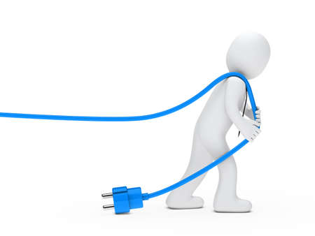 detach: 3d man with tie draws blue cable