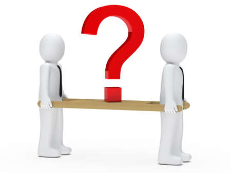 query: business men holding a red question mark