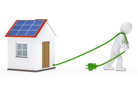 photovoltaic panel: business man draws a house with solar
