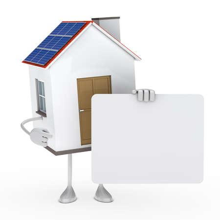 render residence: solar house figure hold a white billboard
