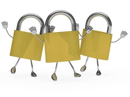 locks: metal lock figures are happy and jump