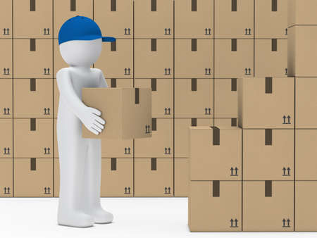 removals boxes: little man with blue cap hold package
