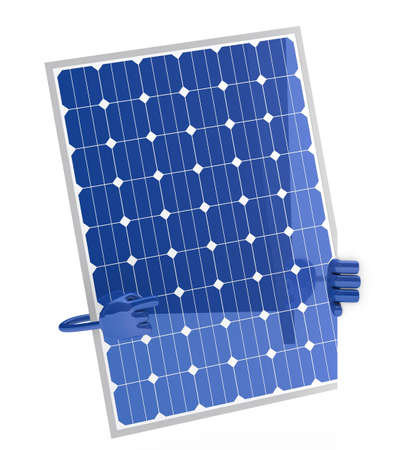 solar panel figure behind a white wall Stock Photo - 12728345