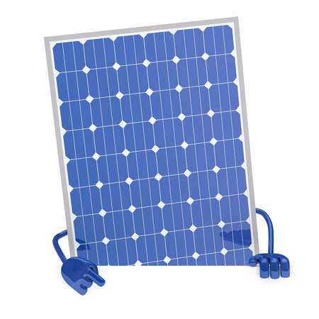 solar panel figure behind a white wall Stock Photo - 12728332