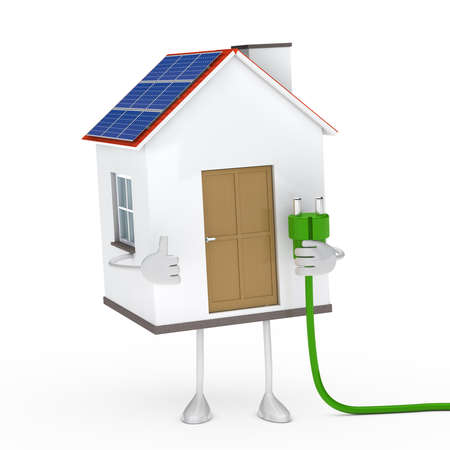 figur: solar house figur hold a green plug Stock Photo