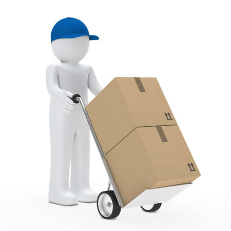 removals boxes: little man with cap and hand truck Stock Photo
