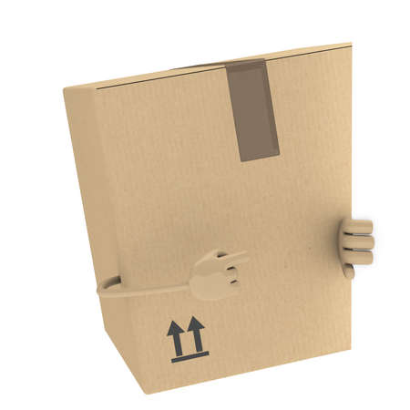removals boxes: package figur shows with finger behind wall
