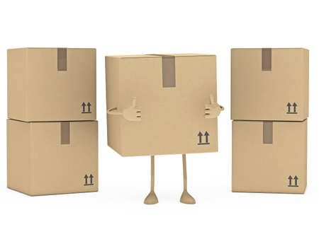 removals boxes: package figur brown stand on white floor