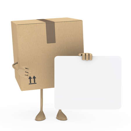 removals boxes: package figur shows finger on white billboard Stock Photo