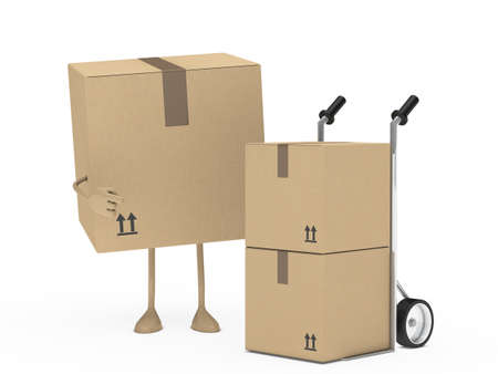 removals boxes: package figur shows finger on hand truck
