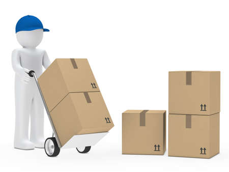 carton: man with blue cap hold hand truck Stock Photo
