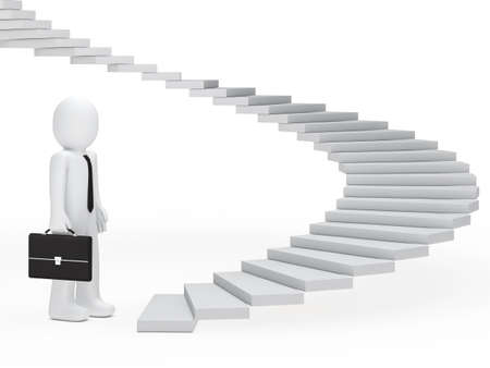 business man with briefcase stand befor stairs photo