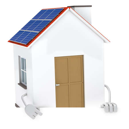 solar panel figure behind a white wall Stock Photo - 12728337