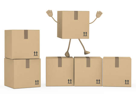 removals boxes: package figur wave hands on white background