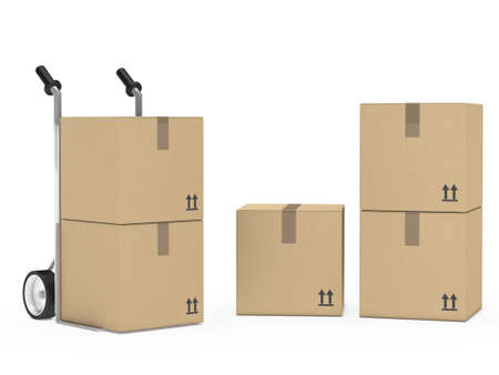 removals boxes: package hand truck stand on white background
