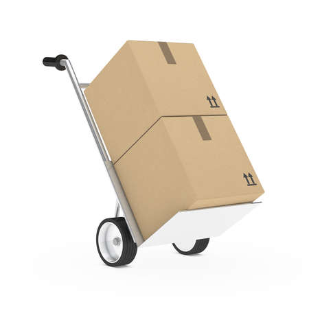 removals boxes: hand truck with package on withe background