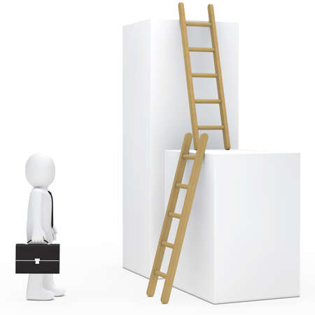 achiever: business man with briefcase stand befor ladder Stock Photo