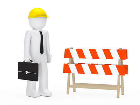setback: business man with helmet stand behind barrier Stock Photo