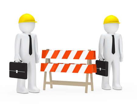 setback: business men with helmet stand behind barrier