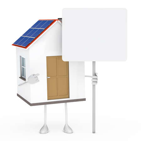 solar roof: solar house figure stand and hold billboard