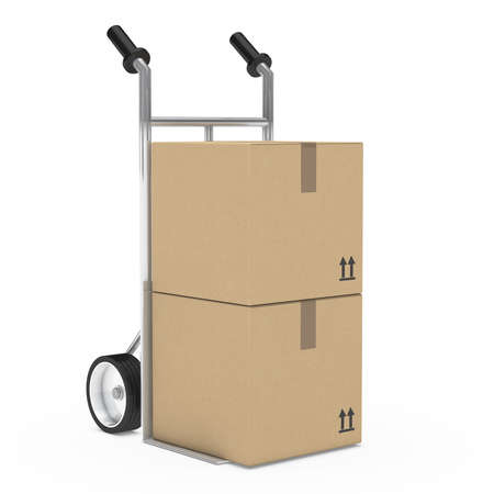 trolley: hand truck with package on withe background