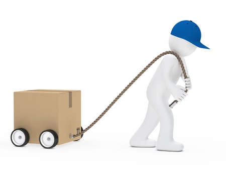 pulling rope: man with blue cap draws package car