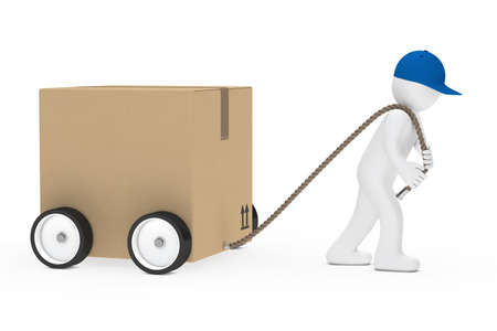 consignment: man with blue cap draws big package Stock Photo
