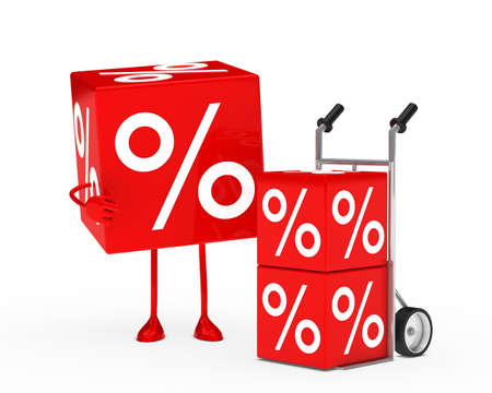 red sale cube figure next hand truck