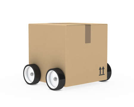 removals boxes: package brown with wheels on with background Stock Photo