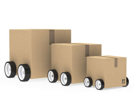 three wheel: brown package car from small too big