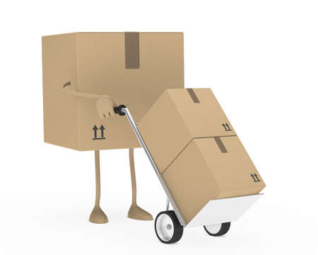 package figure brown hold a hand truck photo
