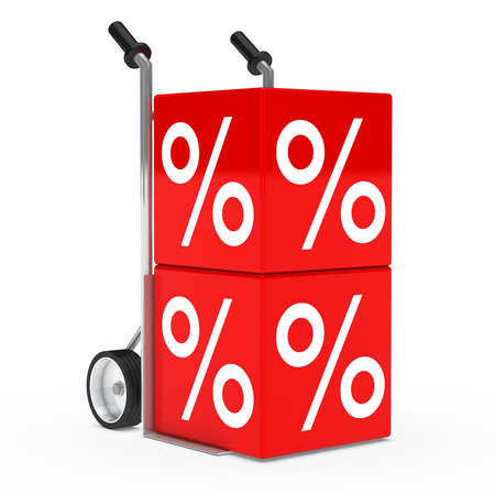 markdown: chrome hand truck with red sale cube
