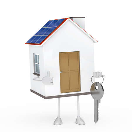 photovoltaic panel: solar house figure stand on white background