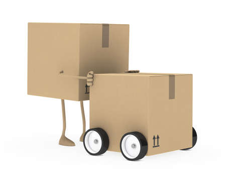 removals boxes: package figure push car on white background