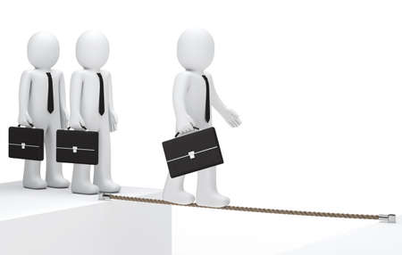 businessman with briefcase to balance on a rope photo