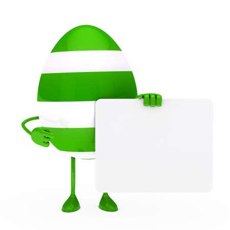 easter green egg figure hold a billboard photo