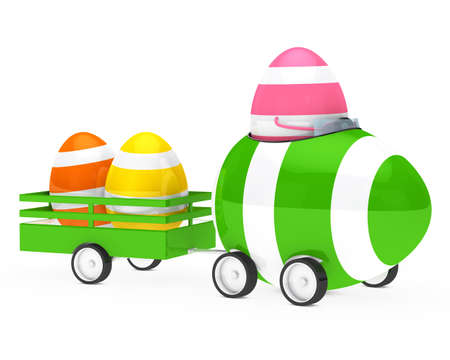 easteregg: easter egg figure with car and trailer Stock Photo