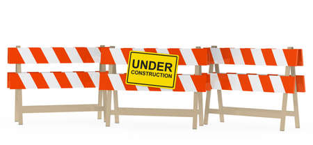 overhaul: yellow black under construction sign on barrier