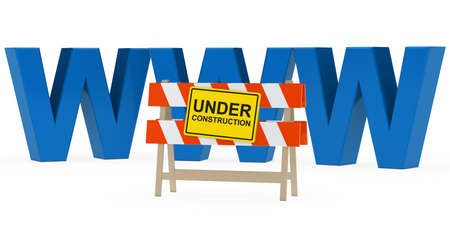 inaccessible: blue www with under construction barrier sign Stock Photo