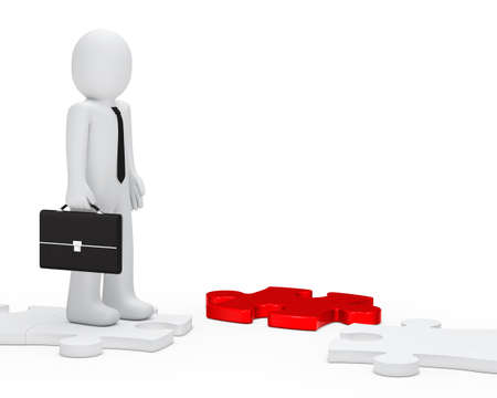 businessman with black briefcase stand jisaw way photo