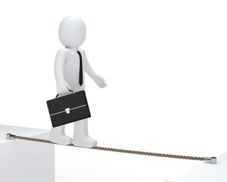 intrepid: businessman with briefcase to balance on a rope