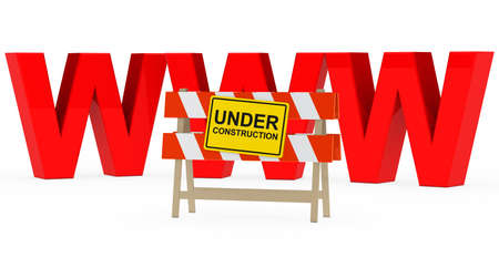 red www with under construction barrier sign photo