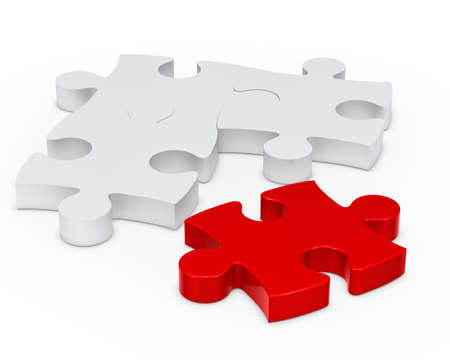 one colour: puzzle jisaw sign with one red out Stock Photo