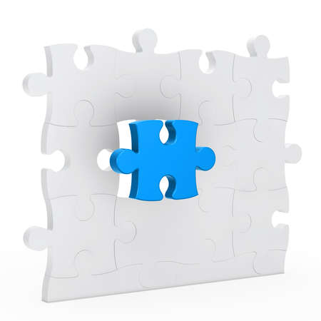 complete solution: puzzle jisaw wall with one blue out Stock Photo